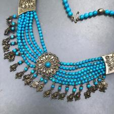 Vtg Egyptian rev Sterling silver Faux Turquoise Bib  Necklace India