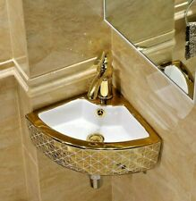 Bathroom Corner Sink Wall Mounted Wall Hanging Porcelain Ceramic wash basin Gold