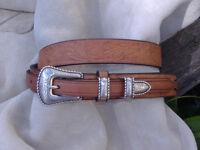 Hand Made Embossed English Bridle Leather Ranger Belt Western Buckle Set