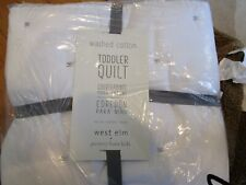 West Elm Washed Cotton Percale Toddler Quilt stone white New w tags