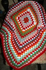 NEW AFGHAN Handmade HANDCRAFTED Crochet Blanket Granny Square Wheelchair Lap