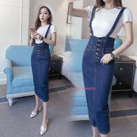 Women Denim Overalls Bib Dress Pinafore Suspender Jean Bodycon Dress Skirt S-5XL