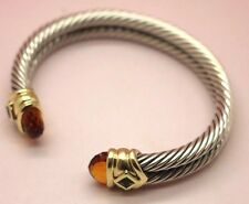 DAVID YURMAN 14K GOLD 925 STERLING DOUBLE CABLE GOLDEN CITRINE/TOPAZ BRACELET