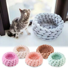 Handmade Woven Cozy Pet Bed Chunky Knit Cat Bed Warm and Soft Basket