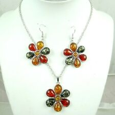 Precious Modernist COGNAC YELLOW GREEN PRESSED AMBER earrings NECKLACE set  H48