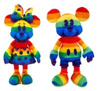 Disney Authentic Mickey & Minnie Mouse Rainbow Collection Plush Toy 2pc Set NWT