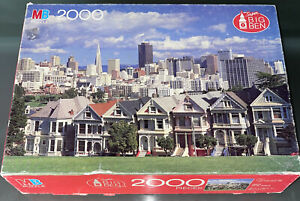 MB Victorian Buildings San Francisco CA 2000 Piece Jigsaw Puzzle Painted Ladies