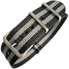 20mm Hadley-Roma MS4230 Grey and Black Stripe Nylon MoD G10 Military Watch Strap