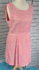Joe Browns Sleeveless Skater Dress A-line Sz 16 Candy Pink Jacquard Pockets D46