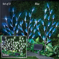 Set of 3 Solar Powered Blue Leaf Branch w/ 60 LED Garden Stakes