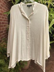 BEAUTIFUL IVORY SHEEN MY SIZE SZ XL (26+) LONG Sleeve Button Shirt VGC