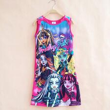 Girls Kids Disney Dress Cartoon Child Pajamas Nightgown Sleepwear Tunika Tops