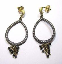 Armenta 18K Yellow Gold & Midnight Silver Open Pear Drop Earrings w/ Diamonds