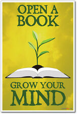 Open A Book Grow Your Mind - NEW Classroom Motivational Poster