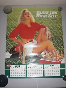 Vintage 1988 Miller High Life Baseball Sexy Girl Calander Poster 16x20