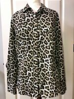 MICHAEL KORS brown leopard print blouse shirt  women's size 8