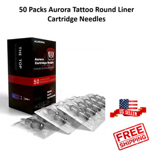 50 Packs Mix Round Liner Aurora Tattoo Sterilized Disposable Cartridge Needles