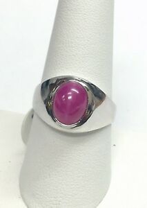Brand New Sterling Silver Oval 10 x 8mm Lab Created Ruby Star Sapphire Mens Ring