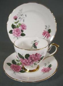 Shabby vintage Royal Trent trio bone china pink roses floral motif-chic