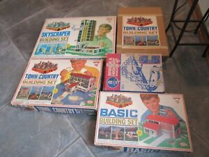 VTG 60's Ideal Super City Basic Town & Country Skyscraper Building Set LOT of 5