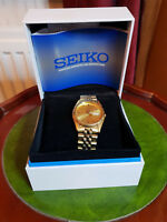 gent's seiko gold bracelet watch 7n43-8111 in original box with certificate's
