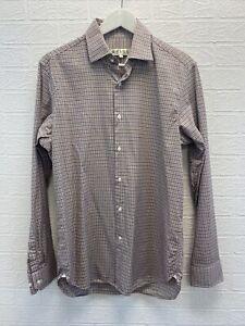 reiss multicolored check long sleeve shirt size M mens fashion clothing