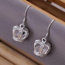 cute Fashion wedding silver plated Pretty  women crystal Crown wedding Earring