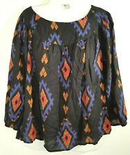 New listing Lucky Brand Peasant Style Top S Small 3/4 Sleeve Southwestern Print Black Multi