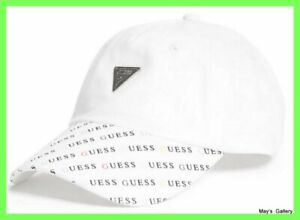 GUESS Jeans Baseball Hat Hats logo NWT One size Cap Adjustable Men Style White