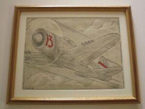 GALL WW2 ERA AIRPLANE AVIATION AVIATOR DRAWING ILLUSTRATION ORIGINAL SIGNED 1946