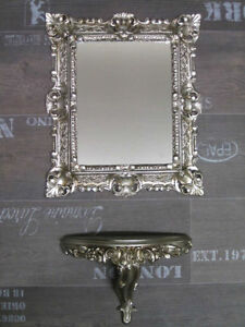 Baroque Set Wall Mirror with Console Table Antique Silver 44x38
