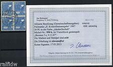All. Besetzung 20 Pfg. Arbeiter 1947 kobalt Viererblock Befund (S7864)