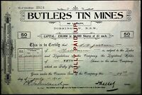 Scrip Australia 1914 - Butlers Tin Mines, Torrington NSW. 50 shares