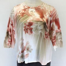 NEW Macy's Alfred Dunner Plus Dressy Floral Lace Studs 3/4 Sleeves Blouse Top 1X