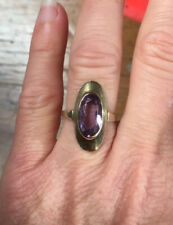 Solid 8ct Yellow Gold & Natural Amethyst Dress Ring. Vintage 1970s