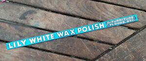 Antique / Vintage TIN Advertising Shelf Strip  LILY WHITE WAX POLISH  Minty Cond