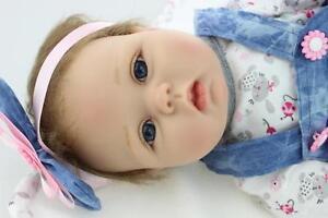 "silicone vinyl reborn baby dolls lifelike baby 22"" newborn handmade doll girl"