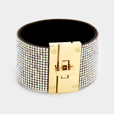 STATEMENT GLAM Celeb Gold AB Crystal Cuff Padlock Bracelet by Rocks Boutique
