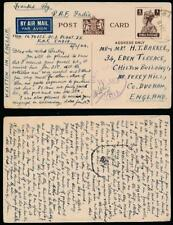 INDIA WW2 1944 STATIONERY CARD RAF AIRMAIL to BARKER in FERRYHILL GB + CENSOR