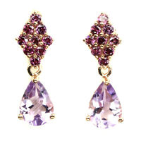 Pear Unheated Amethyst Rhodolite Garnet 925 Sterling Silver Earrings