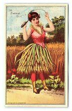 Antique 1887 Victorian Trade Card Anthropomorphic Wheat Girl Sewing Machine R6
