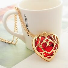 C-Legend Of Zelda Gold Plated Hollow Heart Red Heart Gem Pendant Necklace Chain
