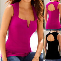 Women Ladies Casual Sleeveless V-Neck Backless Hollow Tank Tops Blouse Pullover