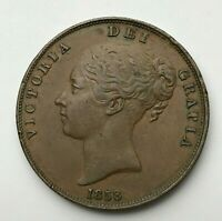 Dated : 1858 - Copper Coin - One Penny - Queen Victoria - Great Britain