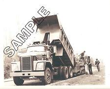 DODGE TRUCK 1975 CNT-900 Tandem Dump 8x10 B&W GLOSSY PHOTO, BARBEER-GREENE Paver