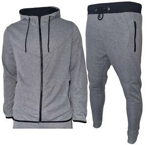Tuta Uomo Pantaloni e Maglia Felpa Zip Cappuccio Sport Fitness Primaverile 328