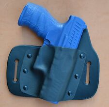 Leather/kydex hybrid OWB beltslide holster for Walther PPQ