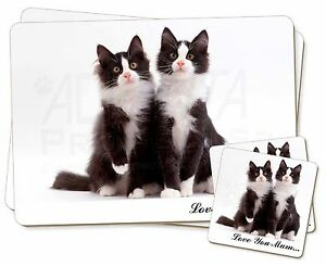 Two Cats 'Love You Mum' Twin 2x Placemats+2x Coasters Set in Gift B, AC-127lymPC