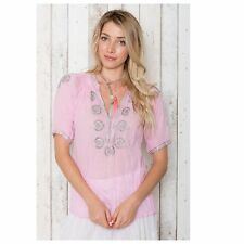 ADRIFT SHINE SHIRT IN PETAL size L metallic embroidery RRP$109.95 NEW With tags