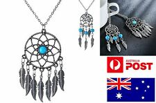 Retro Dreamcatcher Pendent Charm Necklace Men Women Native Blue Stone Spiritual
